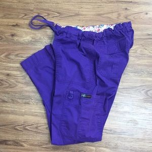 Koi Purple Scrub Pants Stretch Petite Small